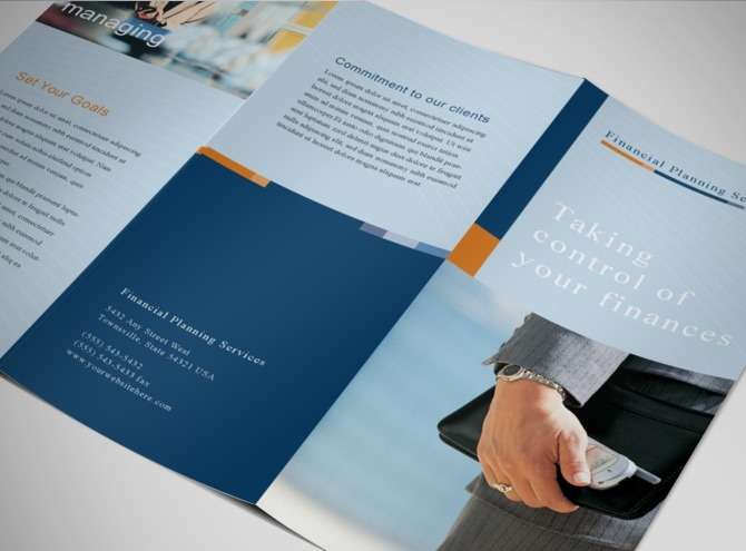 Financial planner consultant tri fold brochure templates for Financial brochure templates