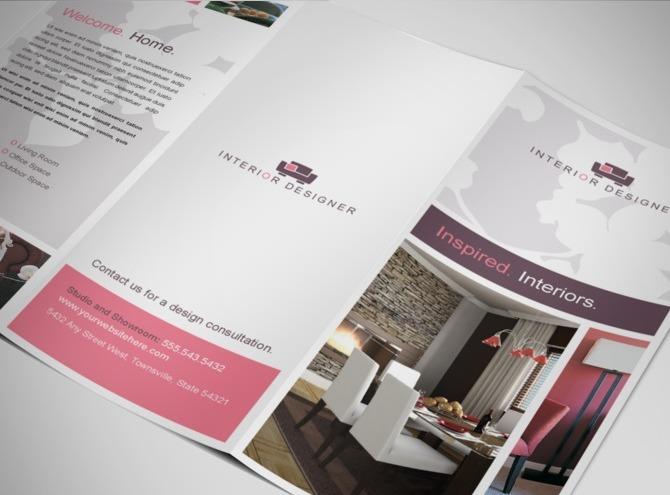 Interior designer home decor business tri fold brochure - Interior design brochure template free ...