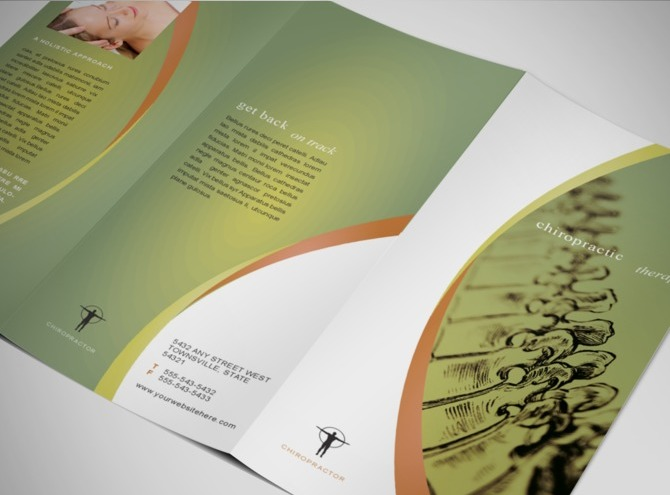 massage brochure template - therapeutic massage chiropractic therapy office tri fold