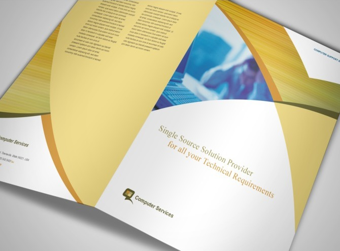 Computer services computer consulting services half fold for Consulting brochure template