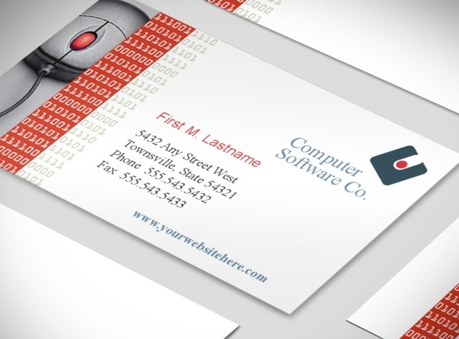 Computer Software Company Business Card Template Images