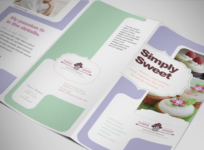 Bakery cake restaurant tri fold brochure template for Bakery brochure template