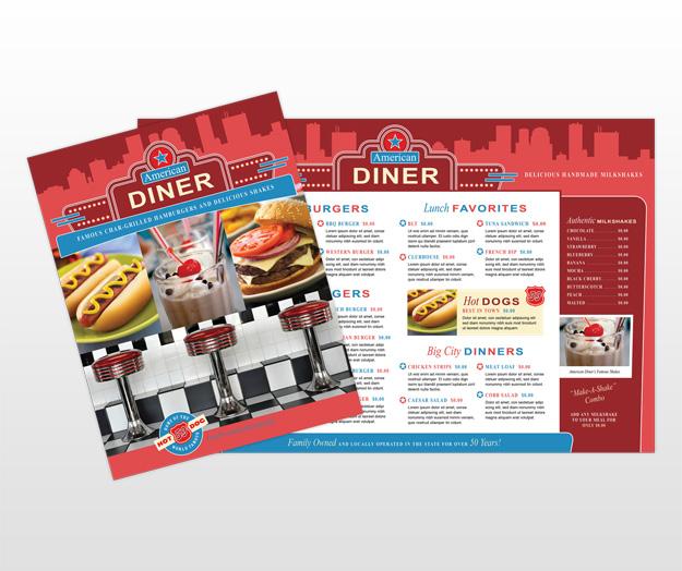 American dinermenu for American classic diner