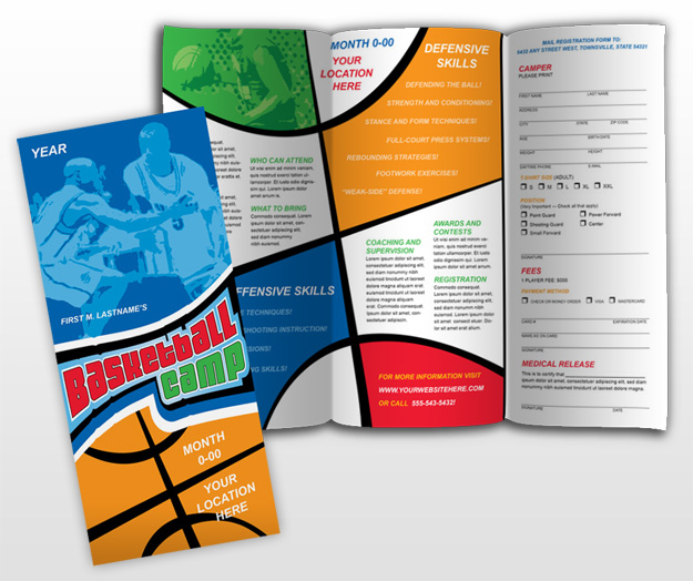 Document moved for Basketball camp brochure template