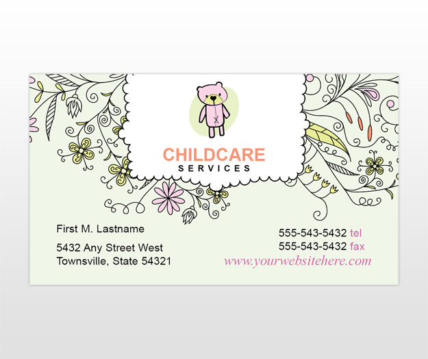 child amp baby day care services provider business card