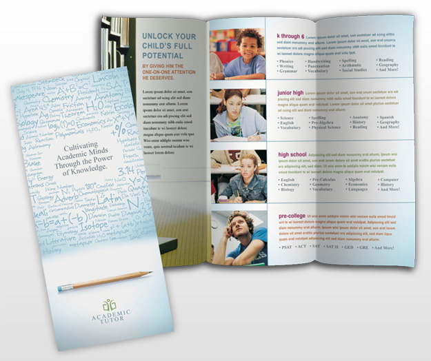 teacher brochure template - tri fold academic and school tutoring services brochure