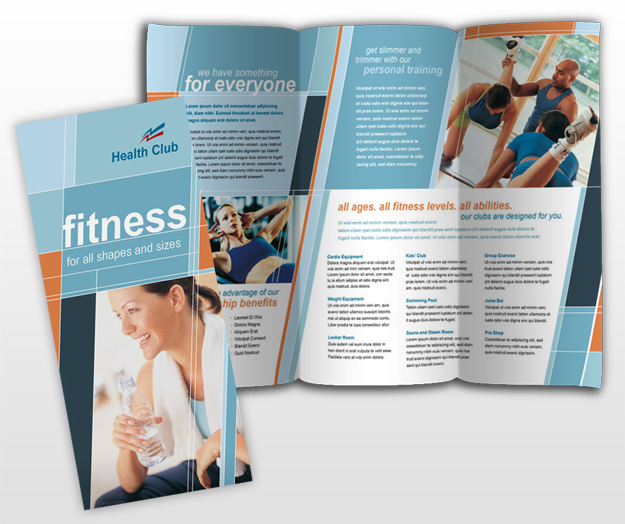 Health gym fitness center tri fold brochure templates for Gym brochure template