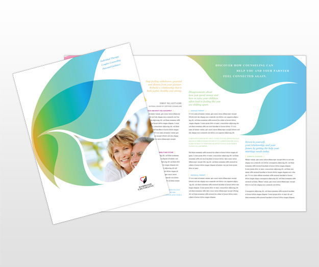 Couples therapy marriage counseling brochure templates for Counseling brochure templates free