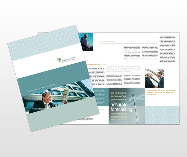 Wealth management financial services business tri fold for Managed services brochure template