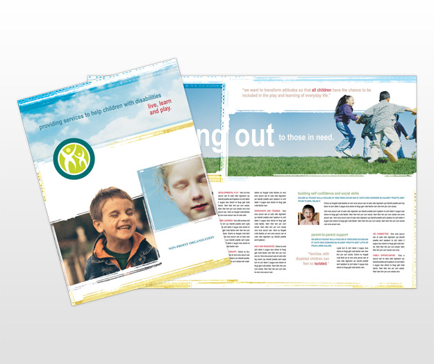 Printable Travel Brochure Template For Kids: Disabled Children Services Organization Brochure Templates