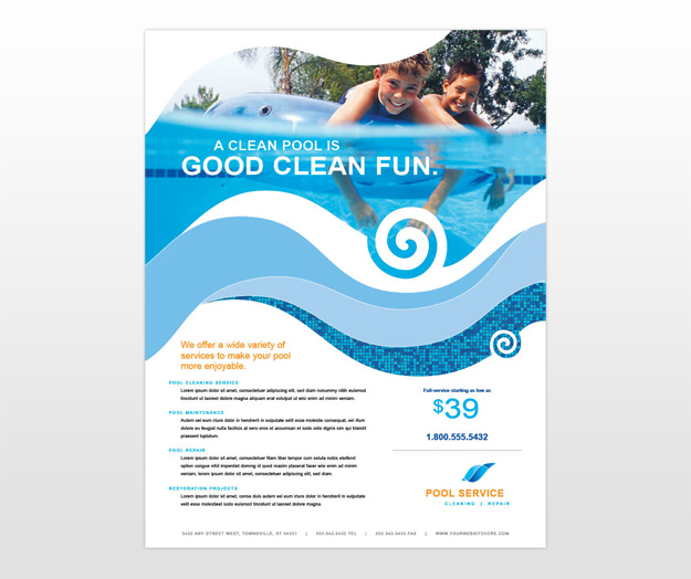 Swimming Pool Service Brochure Design : Swimming pool cleaning supplies service flyer templates