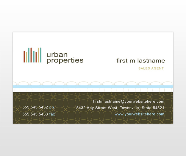 Urban city real estate business card template for Real estate business card template