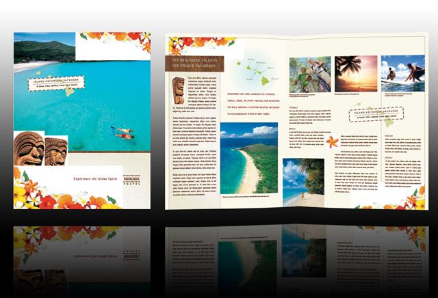 Travel brochure format for Hawaii brochure template