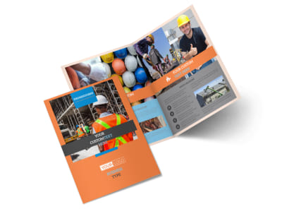 Construction Safety Bi-Fold Brochure Template 2