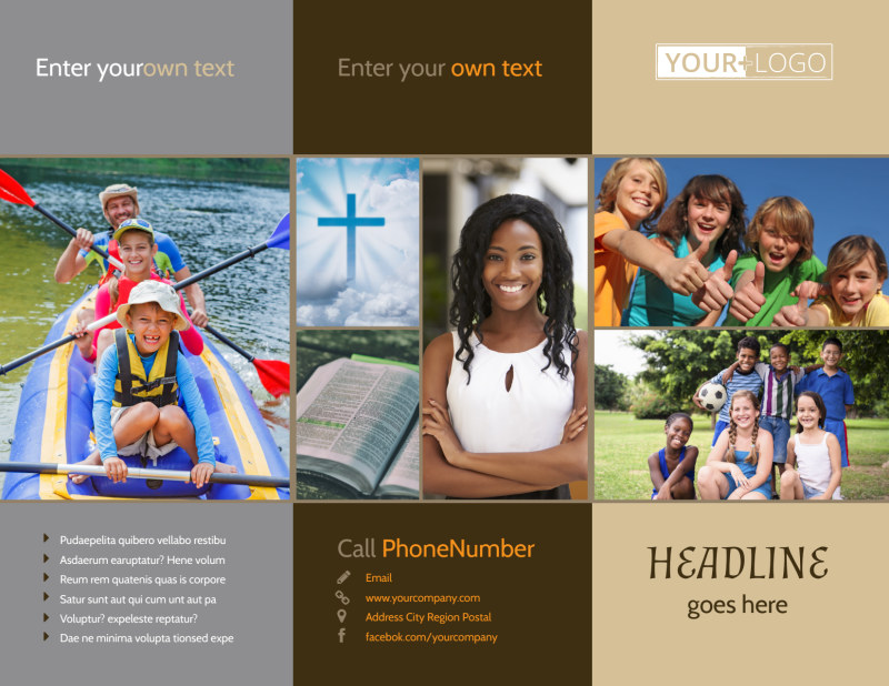 Bible Camp Brochure Template Preview 2