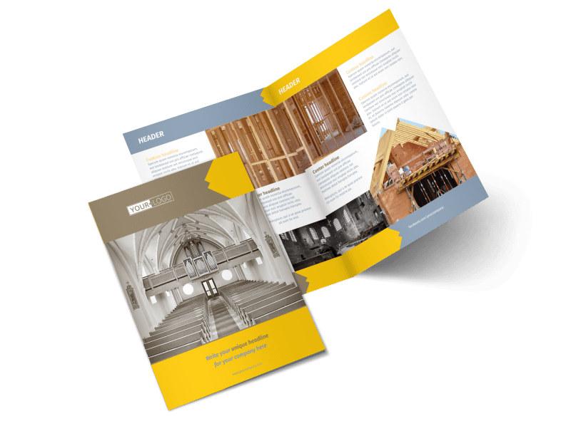 Church Construction Bi-Fold Brochure Template 2