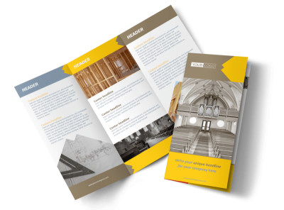 Church Construction Tri-Fold Brochure Template preview