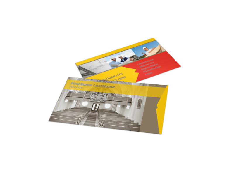 Church construction business card template mycreativeshop church construction business card template fbccfo Images