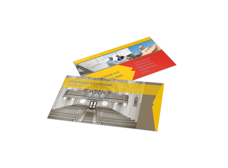 Church Construction Business Card Template Preview 1