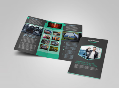 car rental bi fold brochure template
