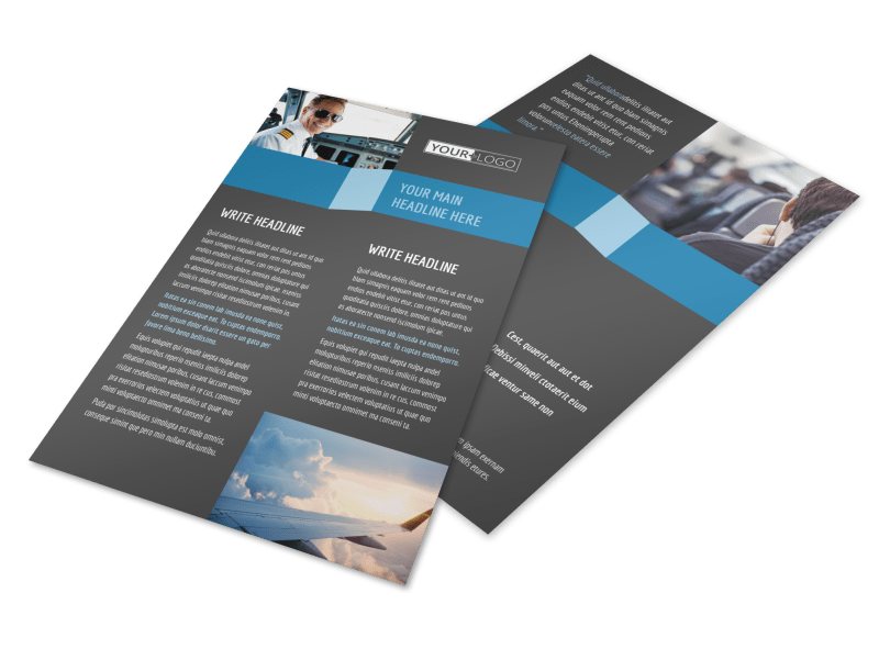 Aircraft Charter Flyer Template Preview 1