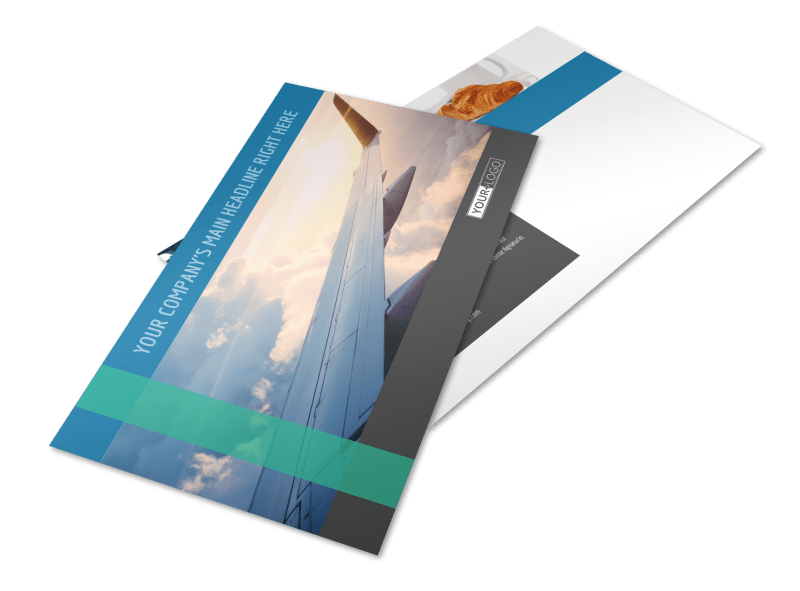 Aircraft Charter Postcard Template Preview 1