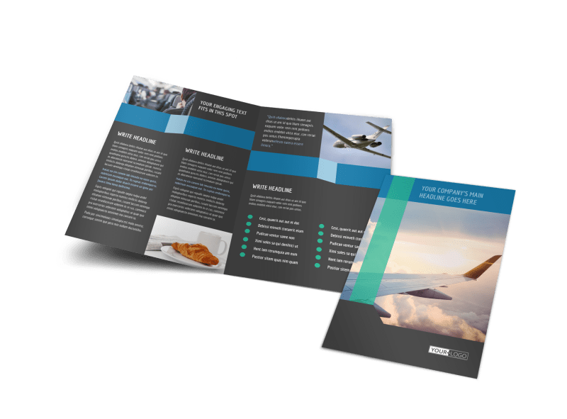 Aircraft Charter Brochure Template Preview 1