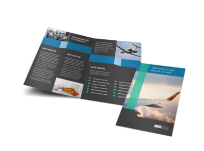 Aircraft Charter Bi-Fold Brochure Template preview