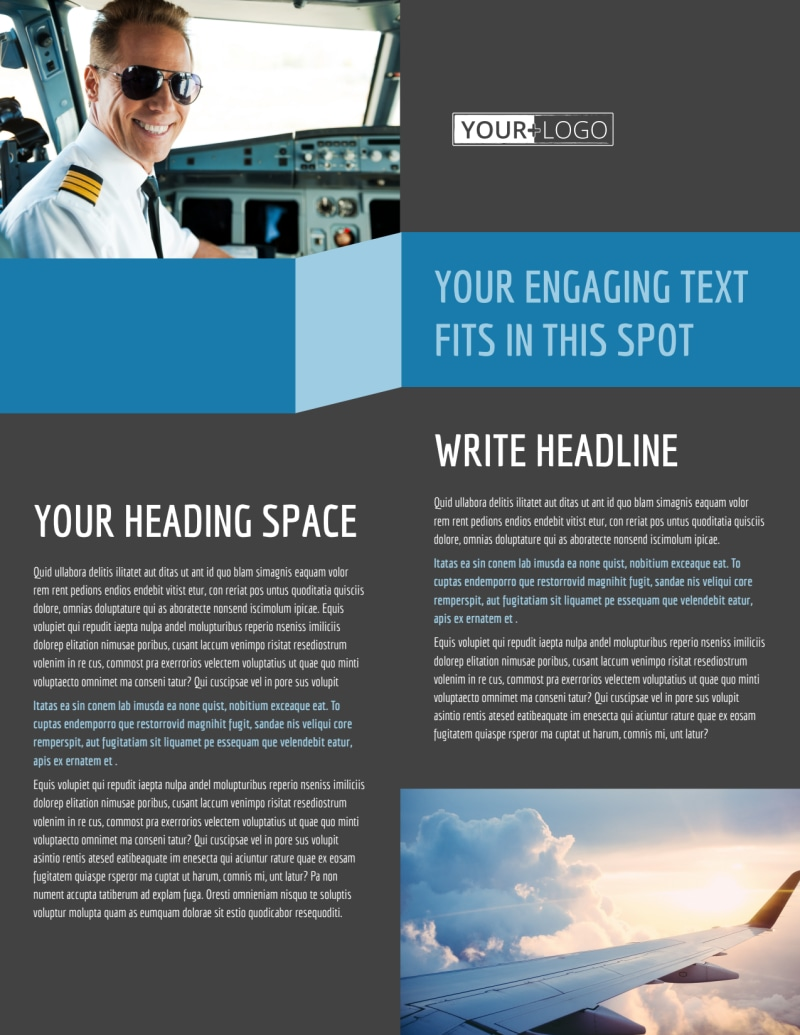Aircraft Charter Flyer Template Preview 2