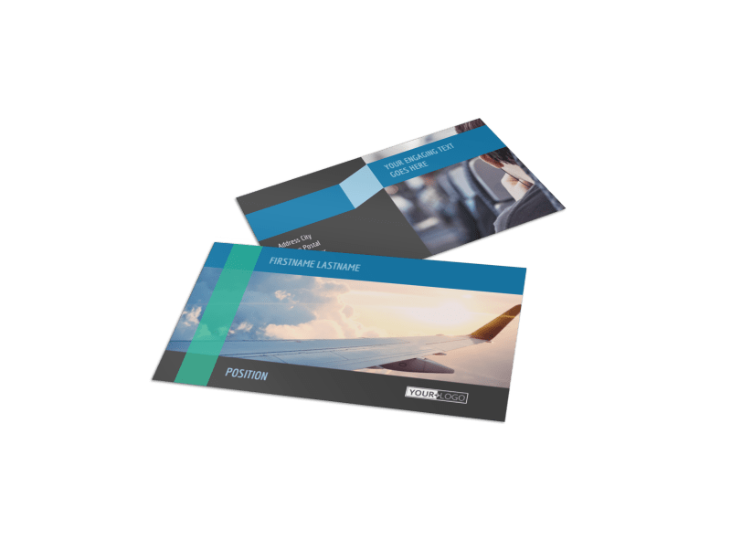 Aircraft Charter Business Card Template Preview 1