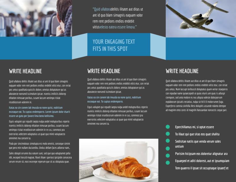 Aircraft Charter Brochure Template Preview 3