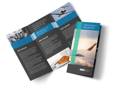 Aircraft Charter Tri-Fold Brochure Template preview