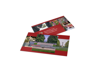 Memorial Services Business Card Template preview
