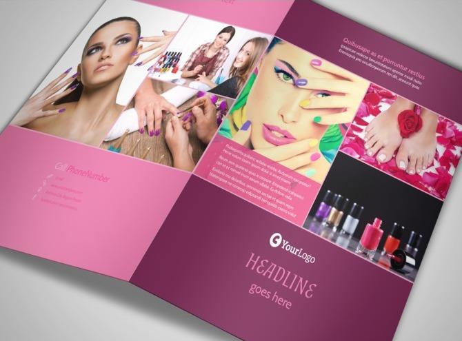 nail brochure templates free - nail salon bi fold brochure template