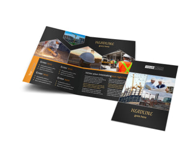 Industrial & Commercial Construction Bi-Fold Brochure Template preview