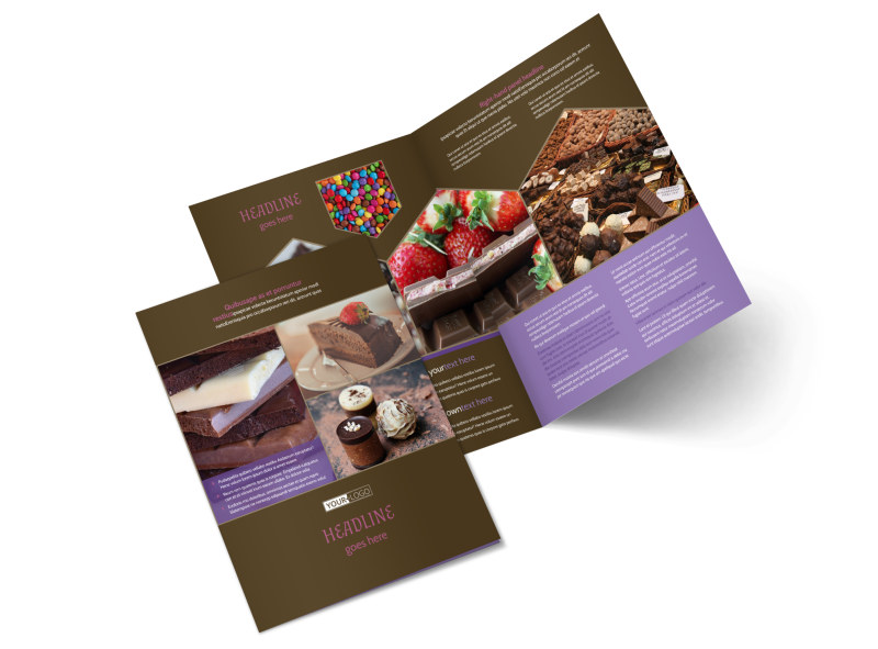Chocolate Shop Bi-Fold Brochure Template 2