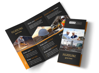 Industrial & Commercial Construction Tri-Fold Brochure Template preview