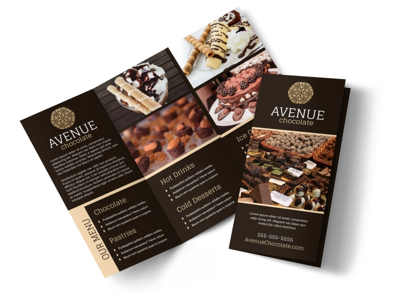chocolate shop brochure template