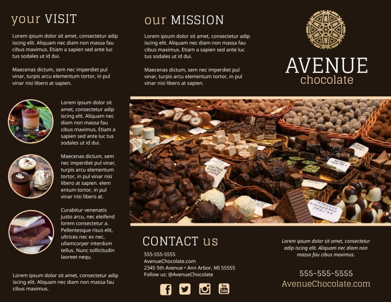 Chocolate Shop Brochure Template Preview 2