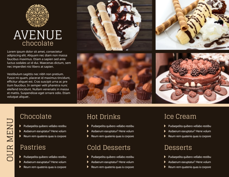 Chocolate Shop Brochure Template Preview 3