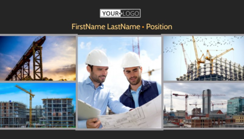 Industrial Construction Business Card Template Preview 2