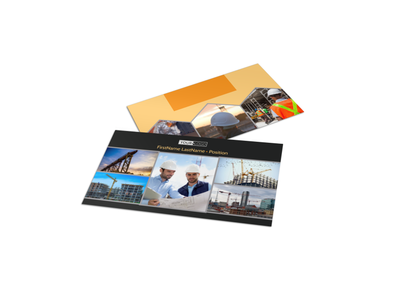 Industrial Construction Business Card Template Preview 1