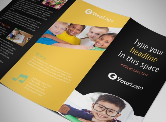 preschool brochure template - child care children preschool brochure templates