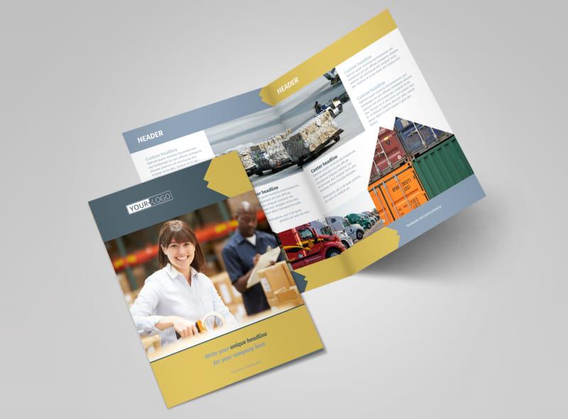 Logistics Company Bi-Fold Brochure Template 2