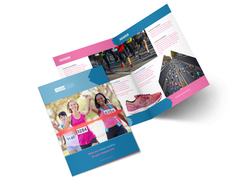 Healthy Running Club Bi-Fold Brochure Template 2