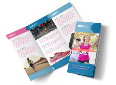 Healthy Running Club Tri-Fold Brochure Template preview