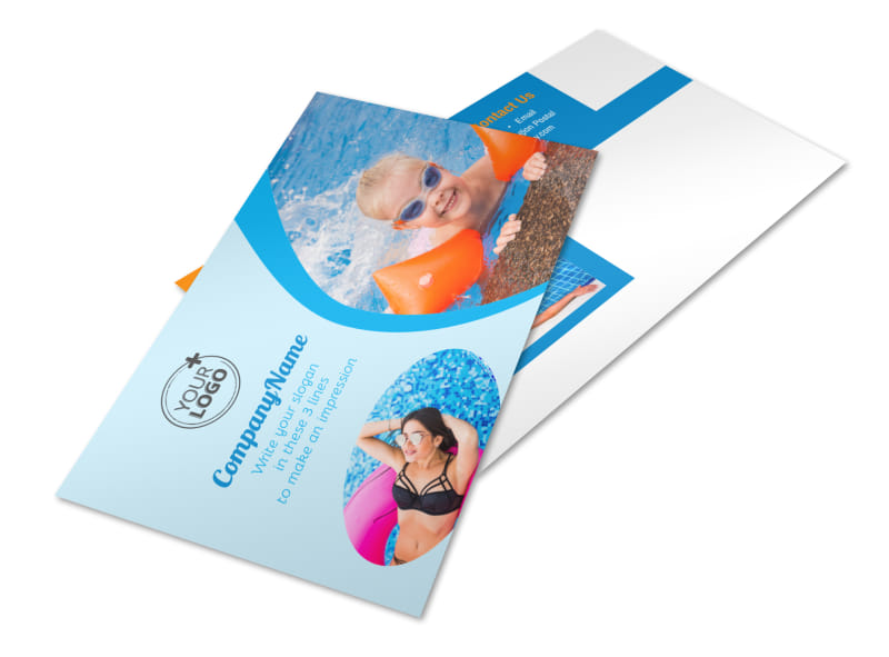 Looks Like Fun Pool Party Postcard Template 2