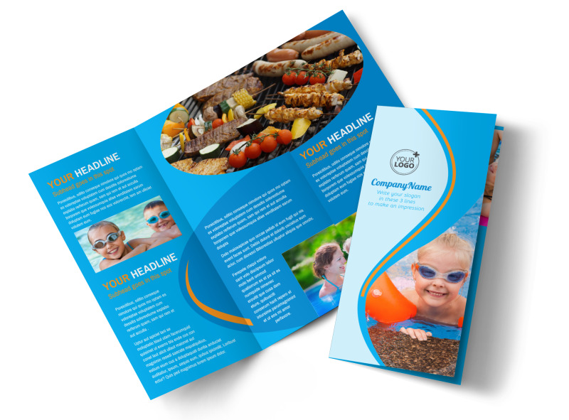 Looks like fun pool party brochure template mycreativeshop for Fun brochure templates