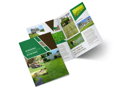 Green Lawn Care Bi-Fold Brochure Template 2