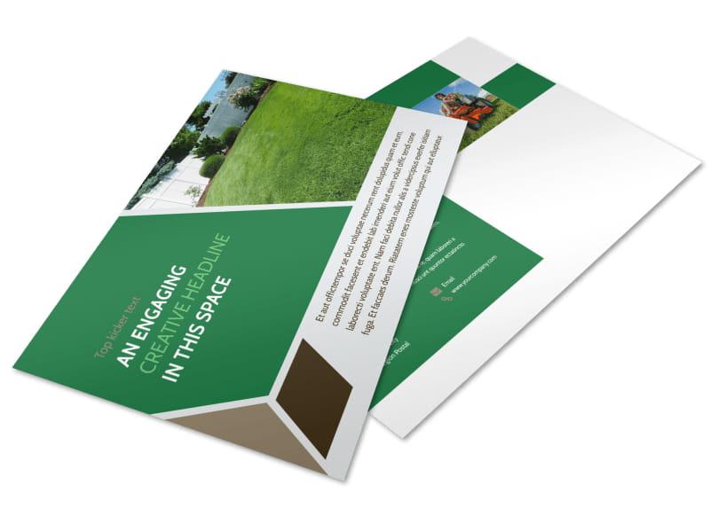 Green Lawn Care Postcard Template